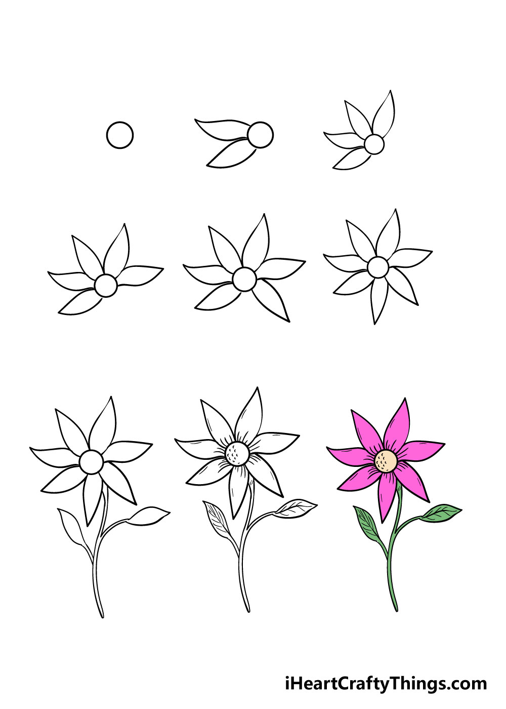 how to draw flower in 9 steps