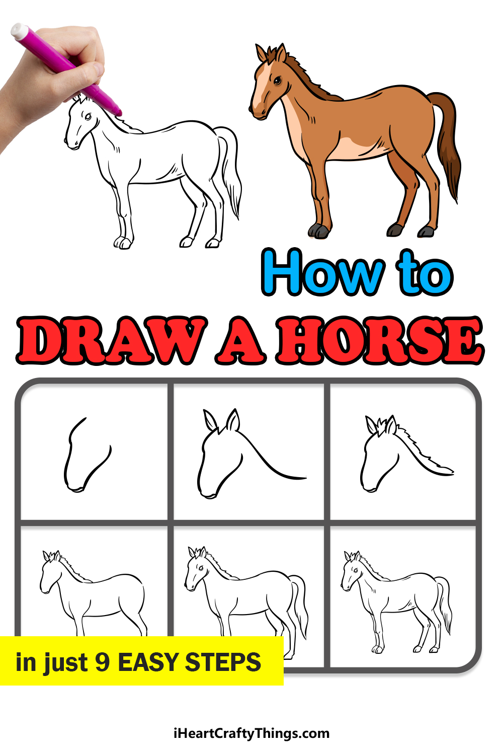 how to draw a horse in 9 easy steps