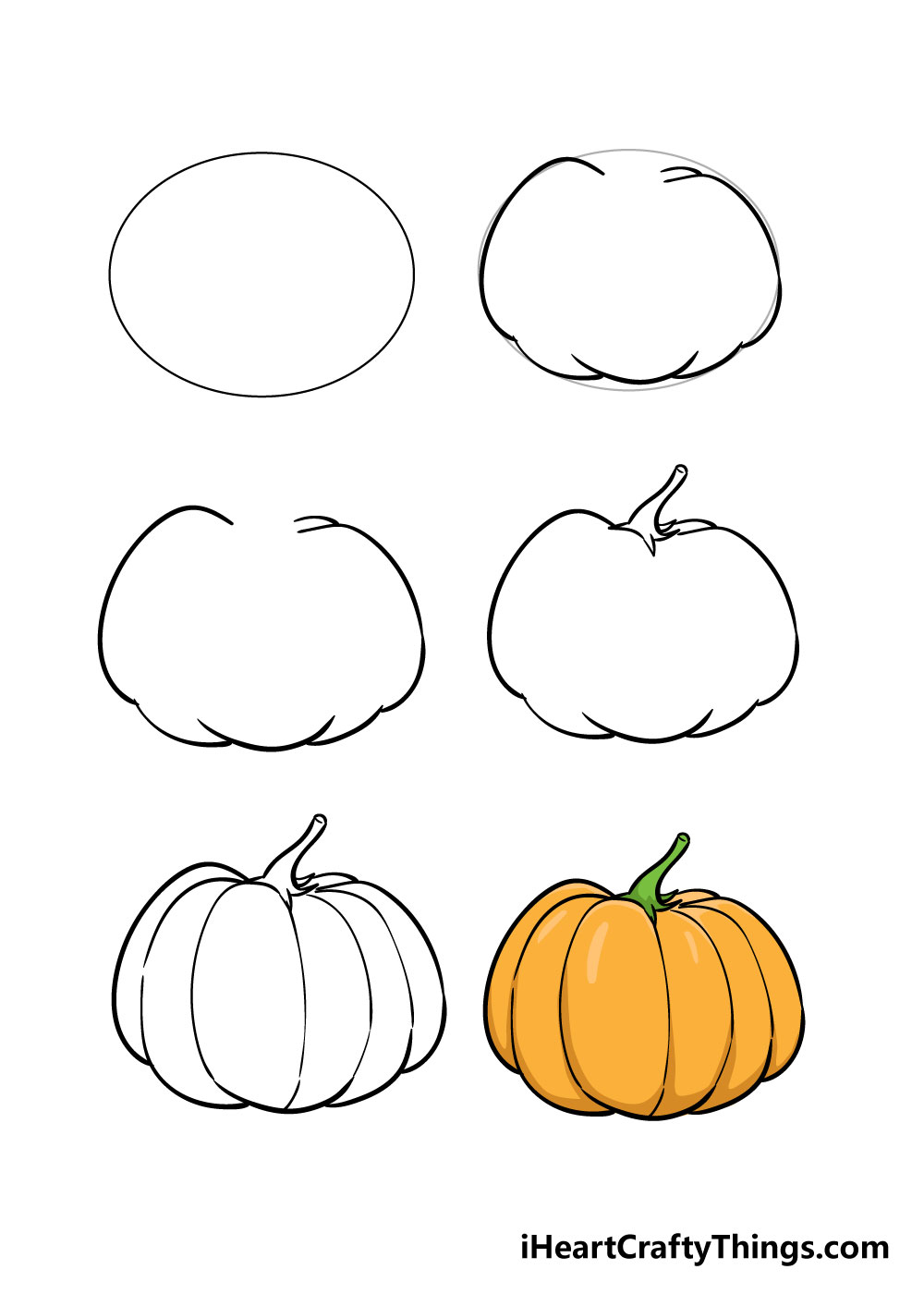 how to draw pumpkin in 6 steps