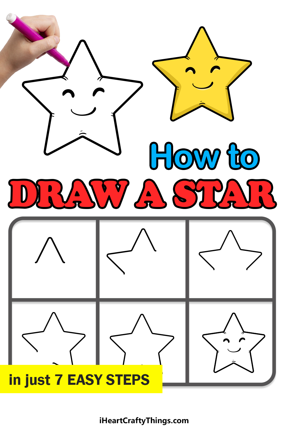 how to draw a star in 7 easy steps