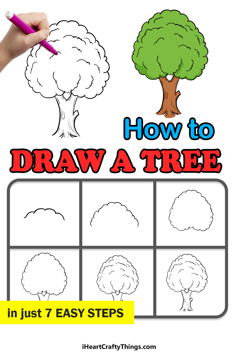 how to draw a tree in 7 easy steps