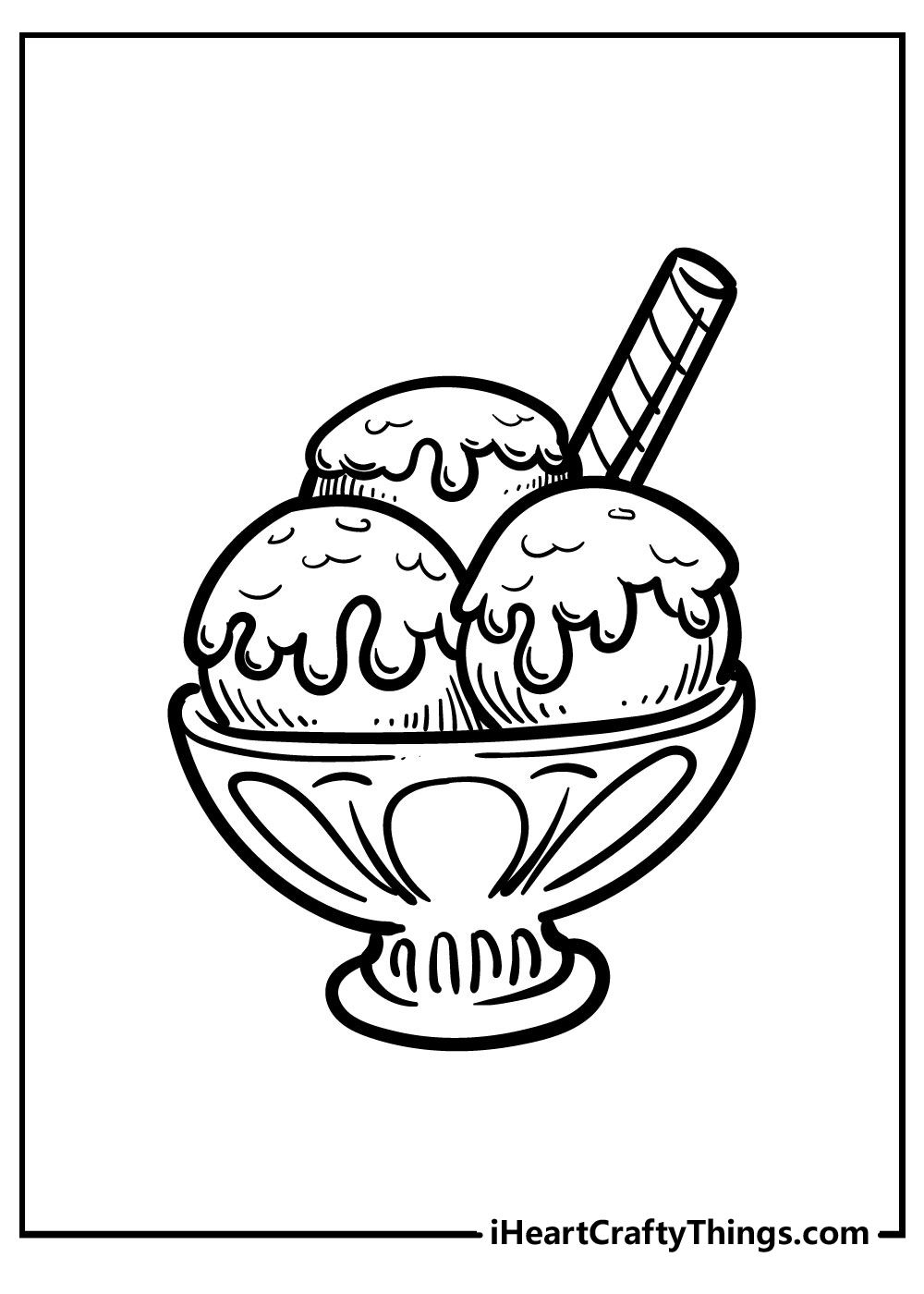 ice cream coloring pages with three scoops