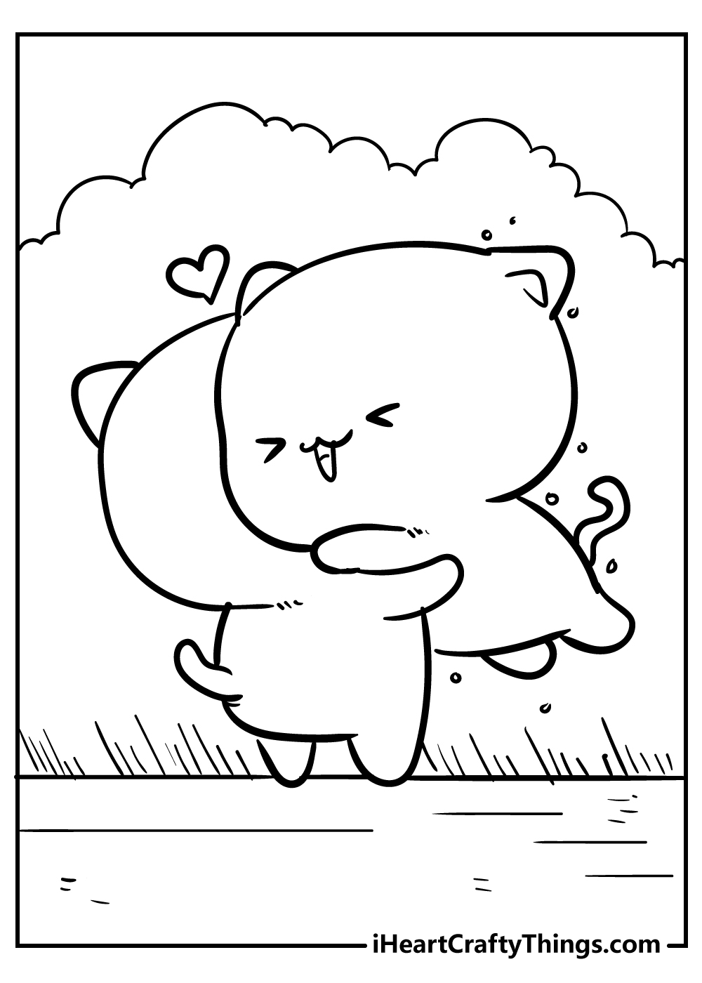kawaii coloring pages of animals free printable