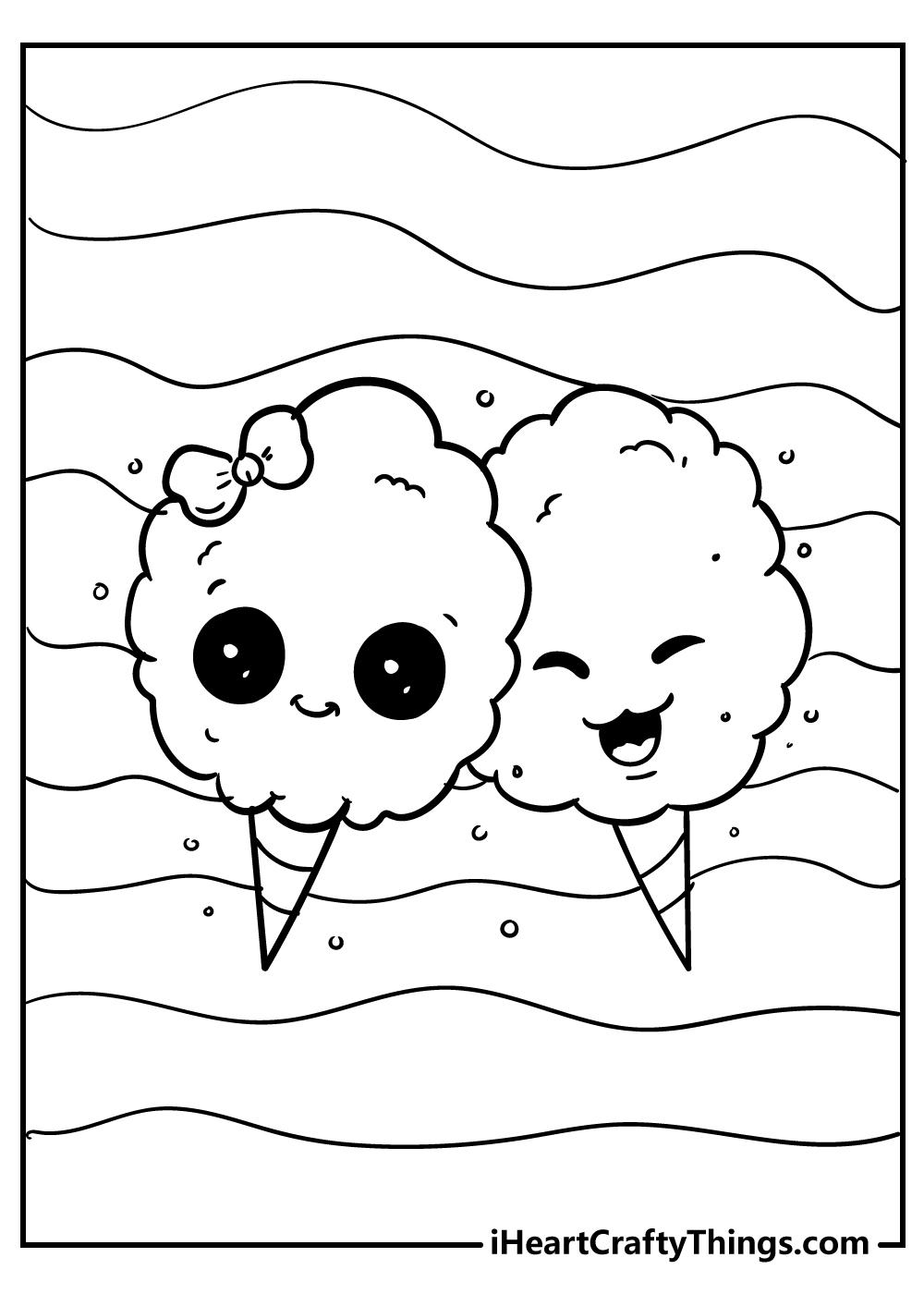 kawaii coloring pages ice cream free printable