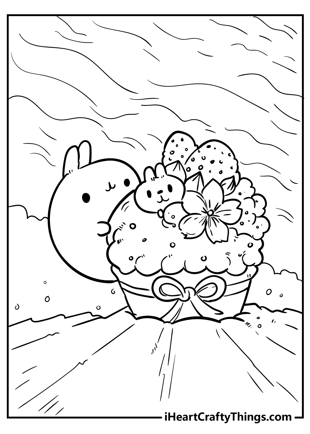kawaii coloring pages cup cake free download