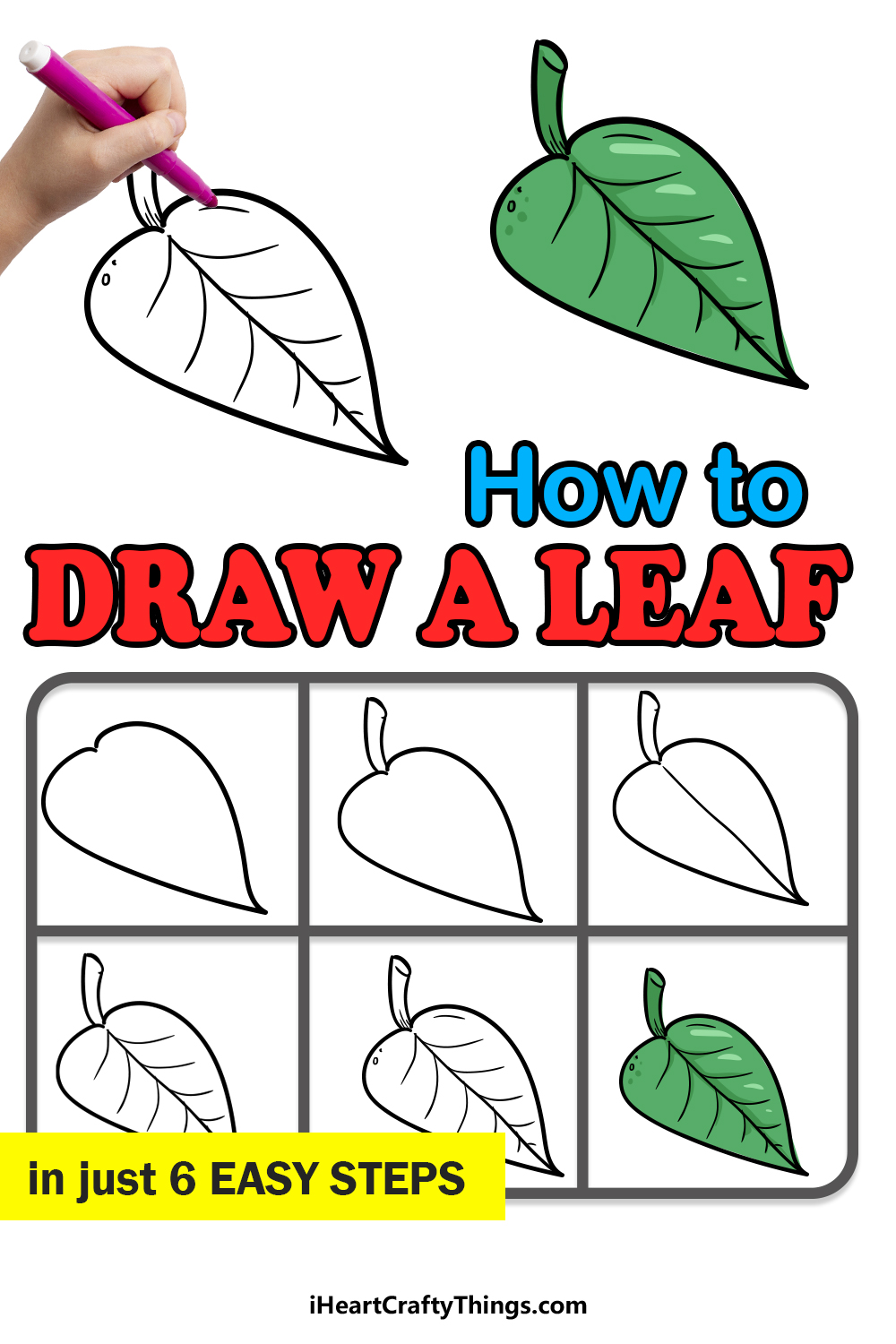 how to draw a leaf in 6 easy steps