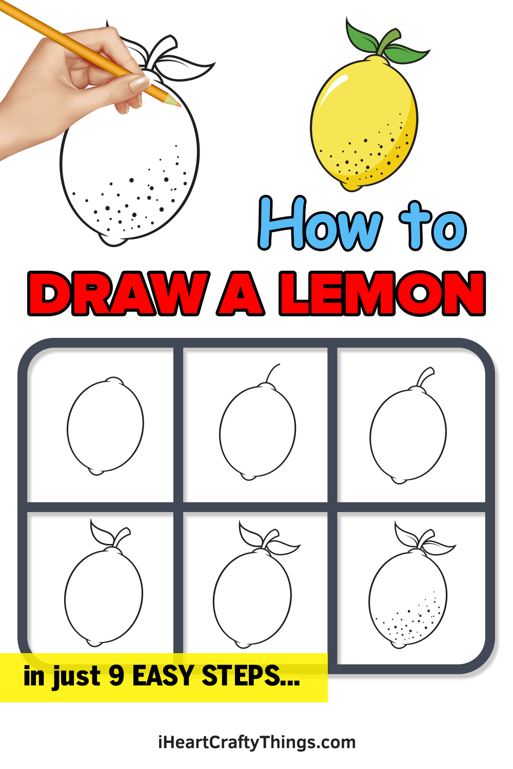 how to draw a lemon in 9 easy steps