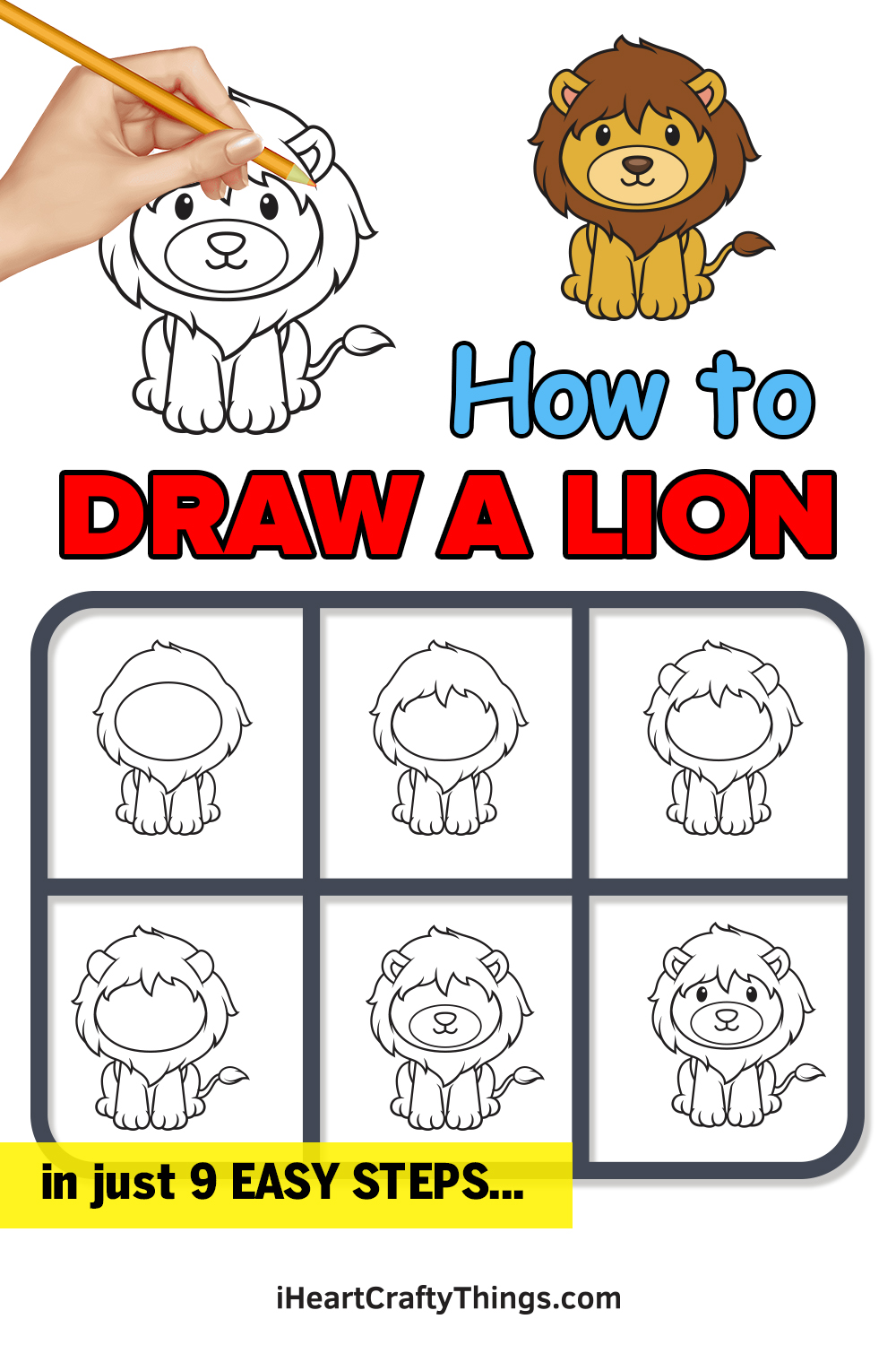 how to draw a lion in 9 easy steps