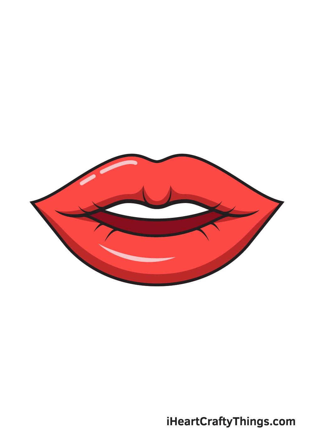 lips drawing 9 steps