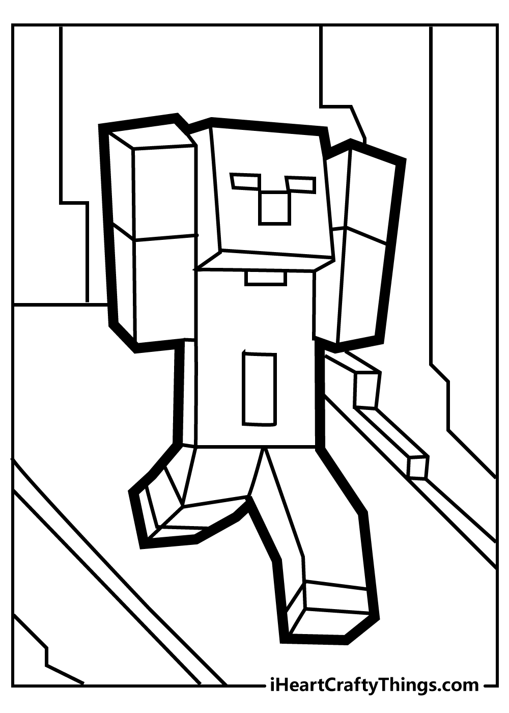 minecraft steve coloring pages free download