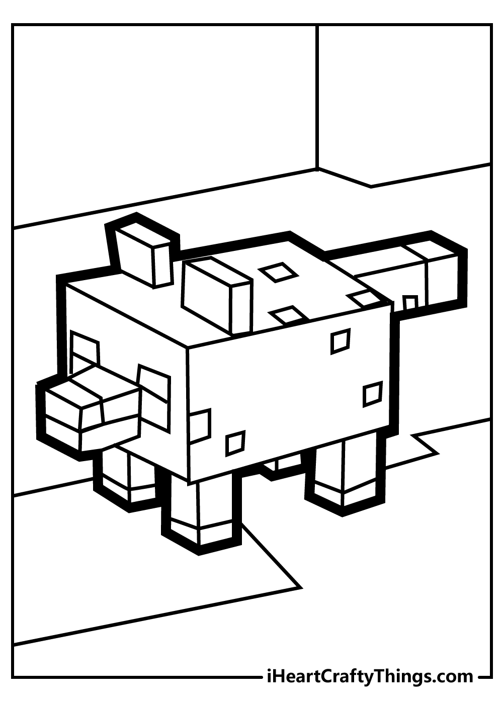 minecraft pig coloring pages free printable