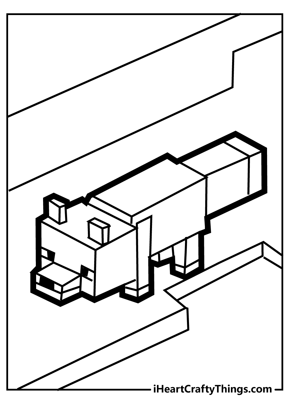 minecraft dog colouring pages free printable