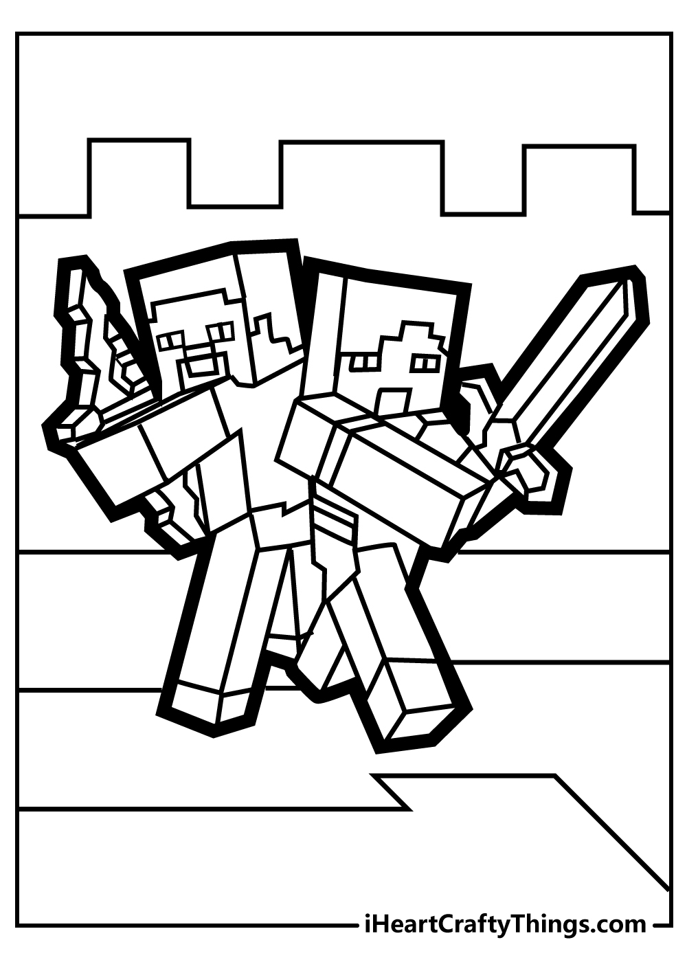 cool minecraft characters colouring pages free print out