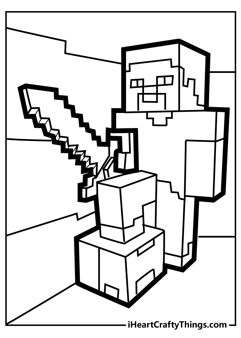 minecraft christmas coloring pages free