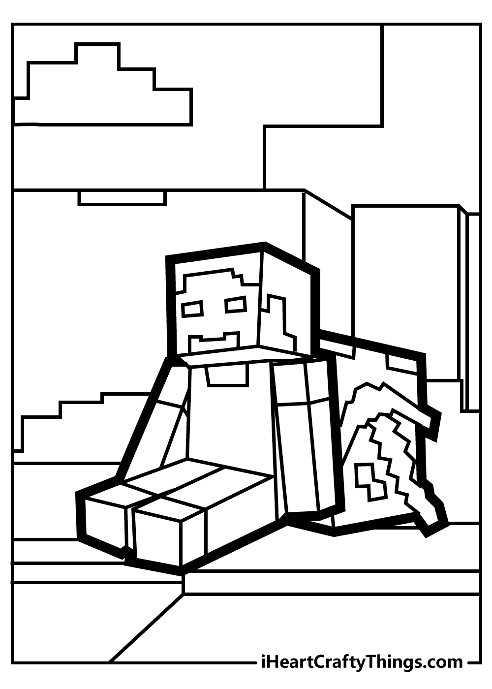 minecraft house coloring pages free