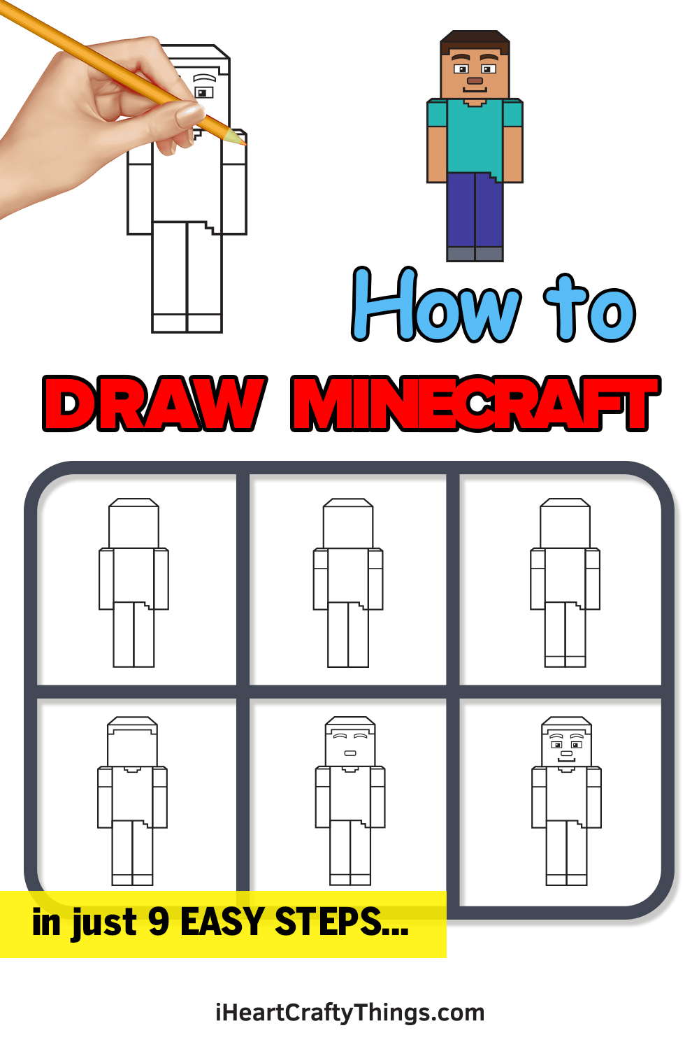how to draw minecraft in 9 easy steps