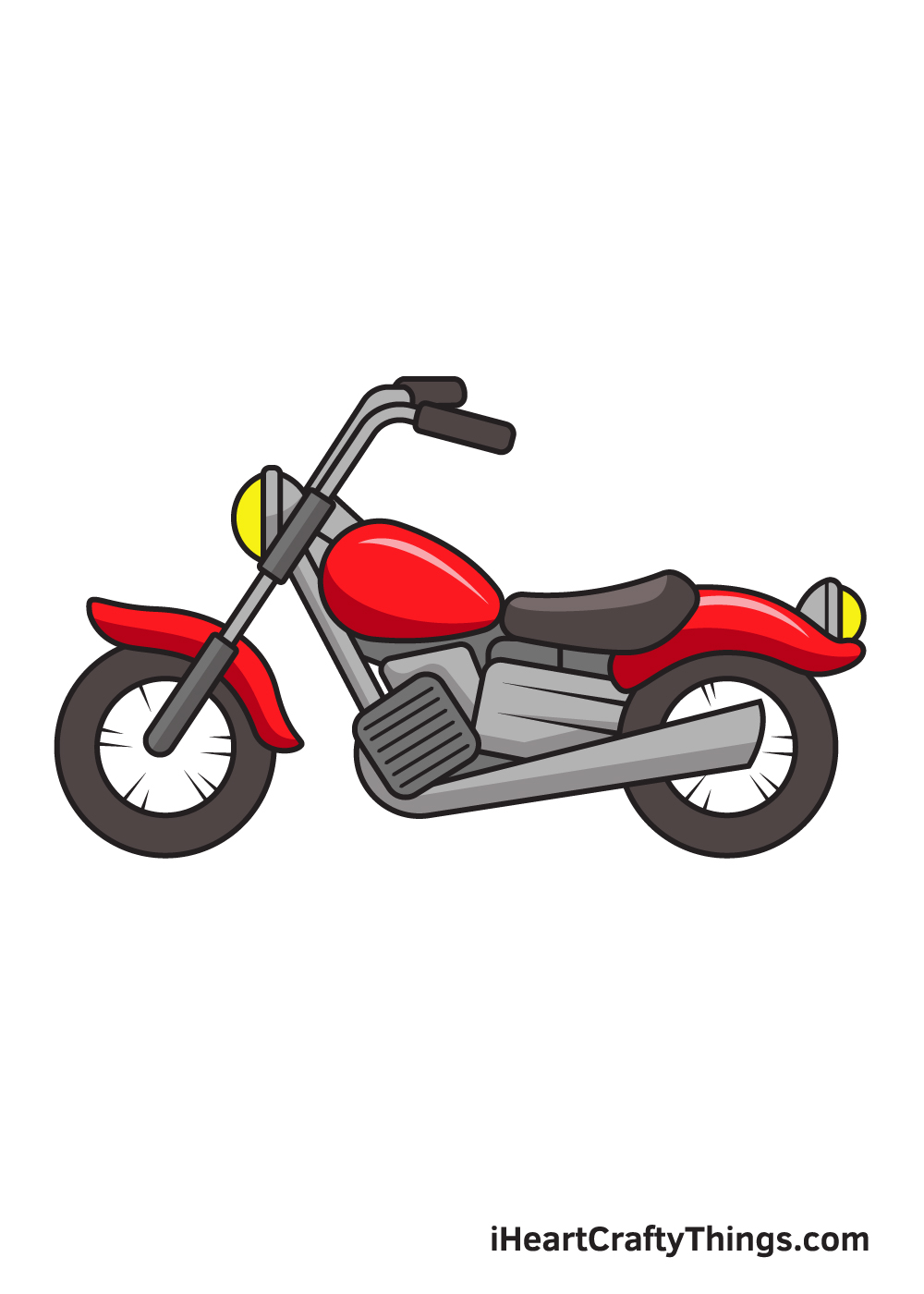 motorcycle drawing 9 steps
