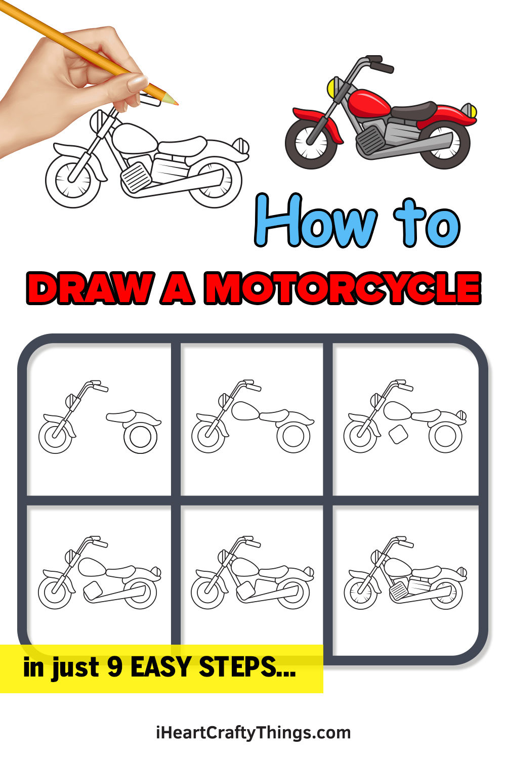 how to draw a motorcycle in 9 easy steps