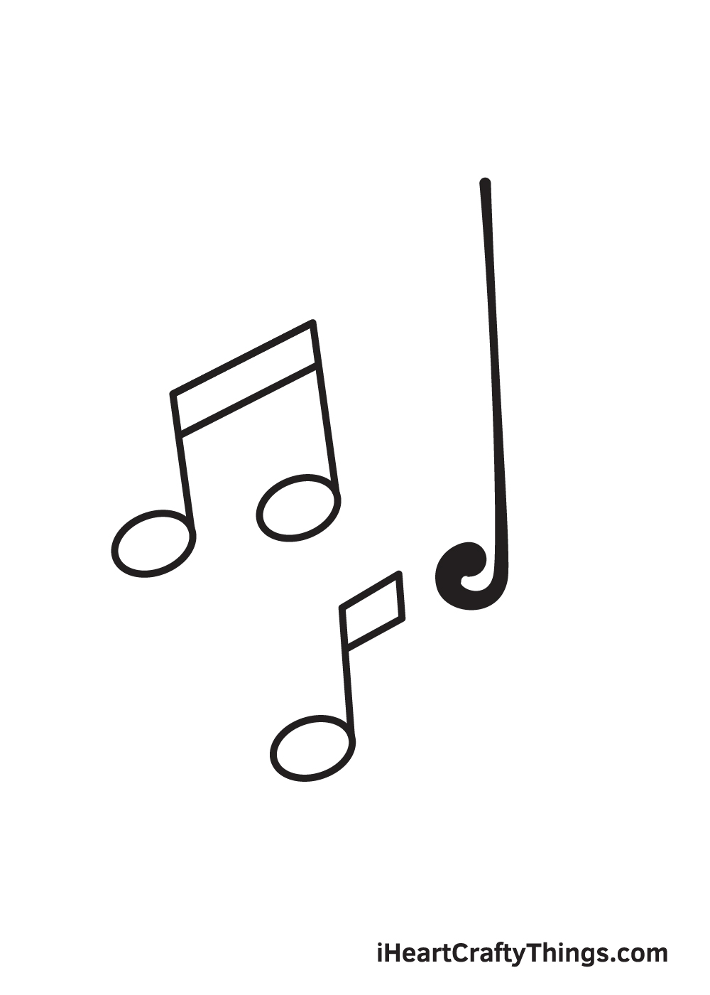 music notes drawing step 6