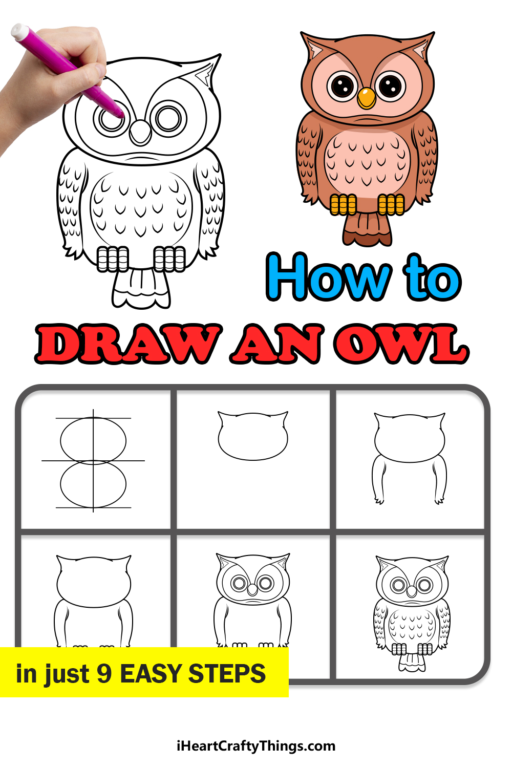 how to draw an owl in 9 easy steps