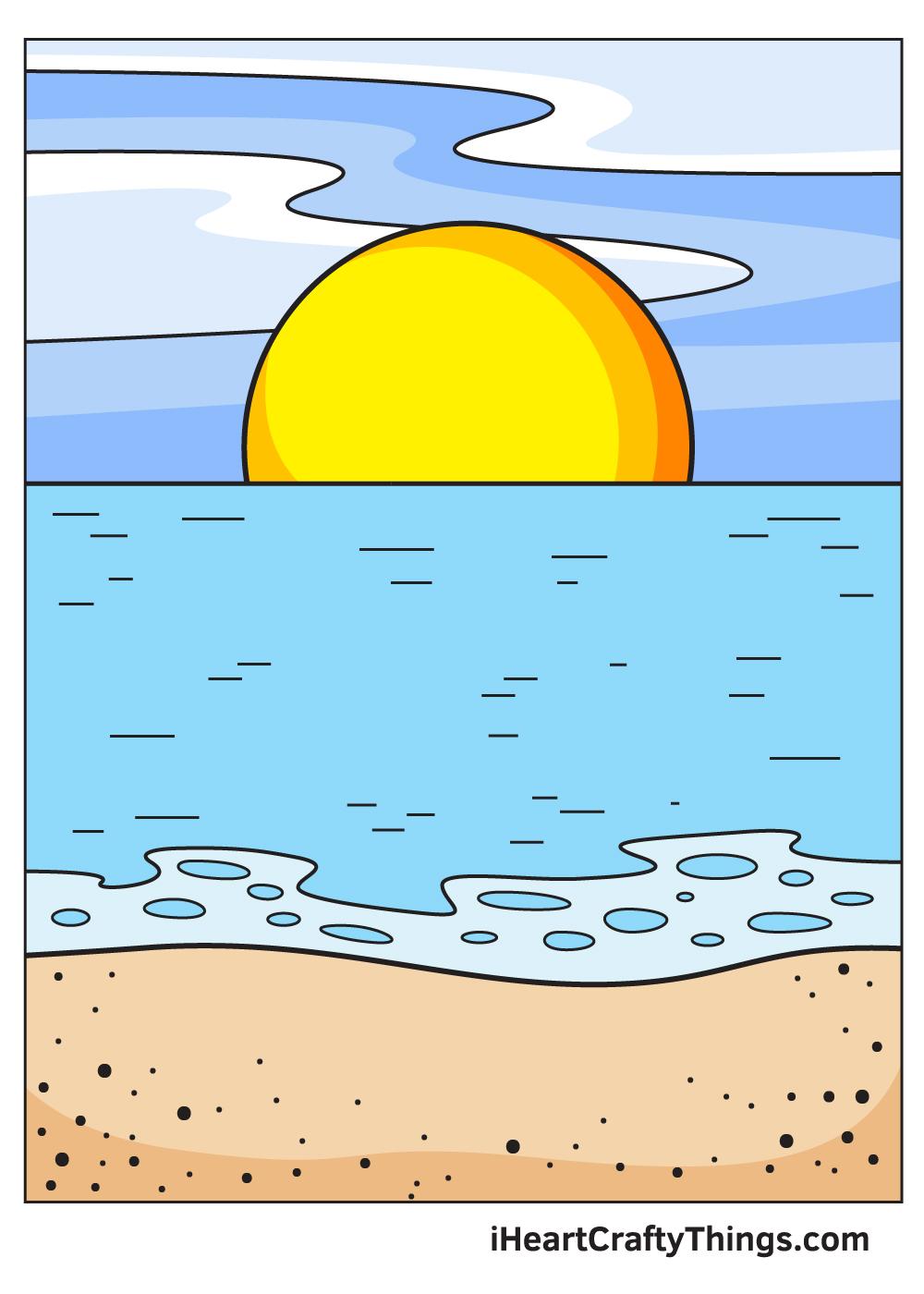 ocean drawing 9 steps