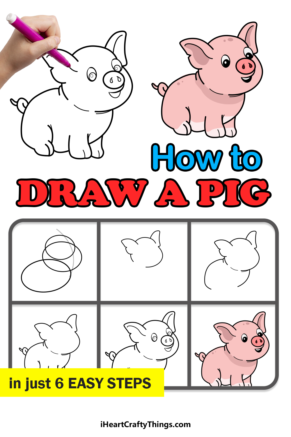 how to draw a pig in 6 easy steps