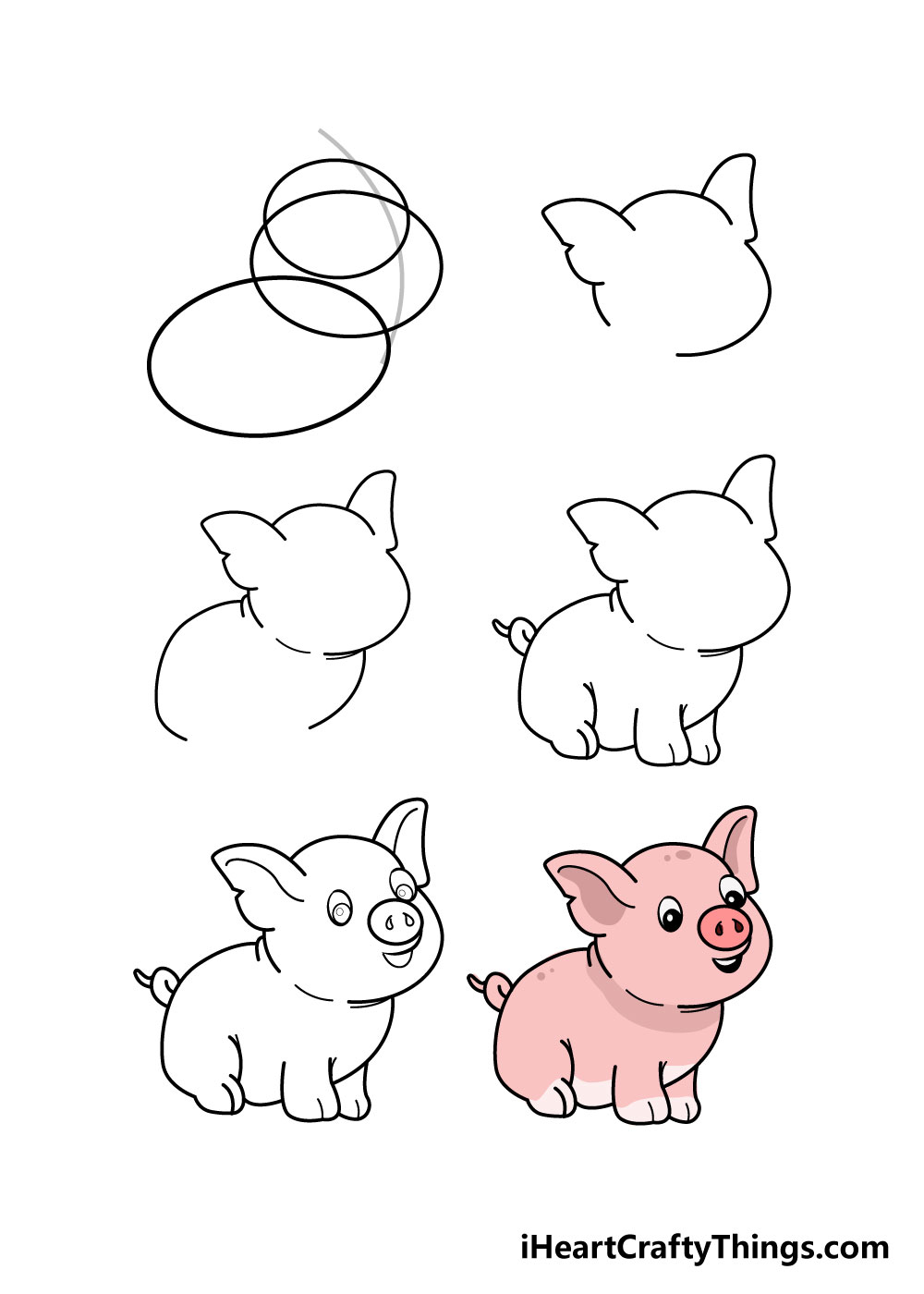 drawing pig in 6 steps
