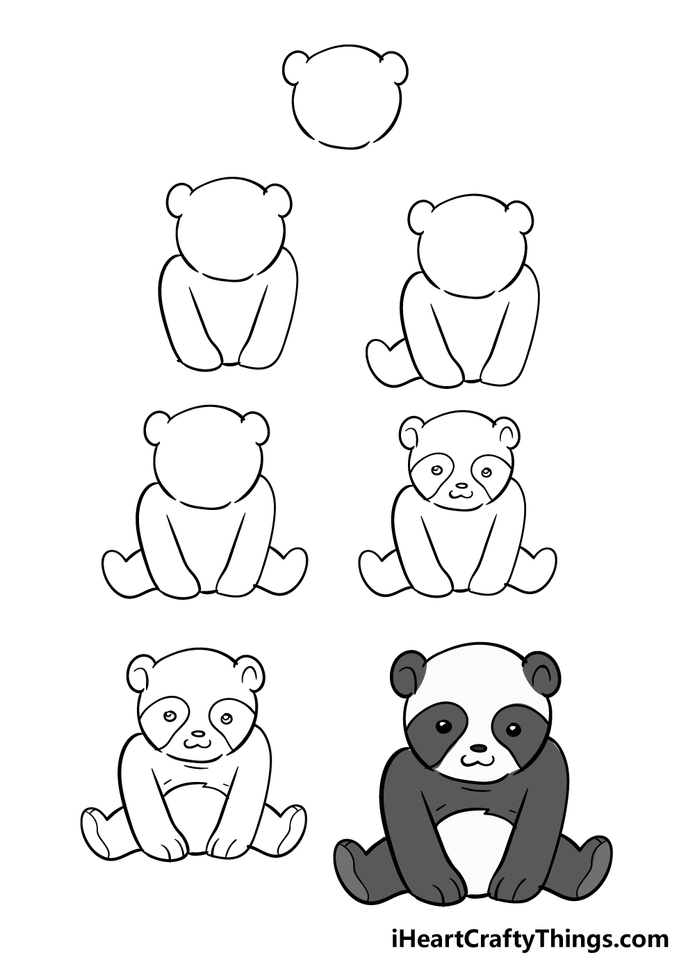 how to draw panda in 7 steps