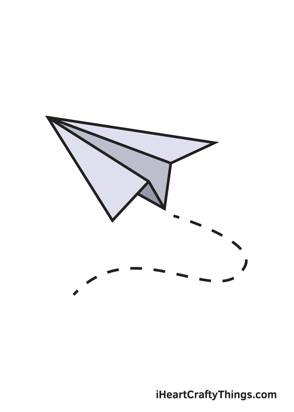 paper airplane drawing 9 steps