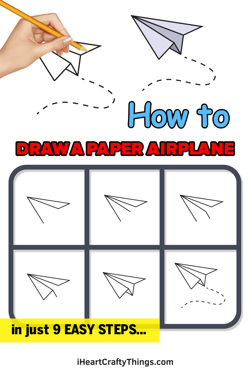 how to draw a paper airplane in 9 easy steps