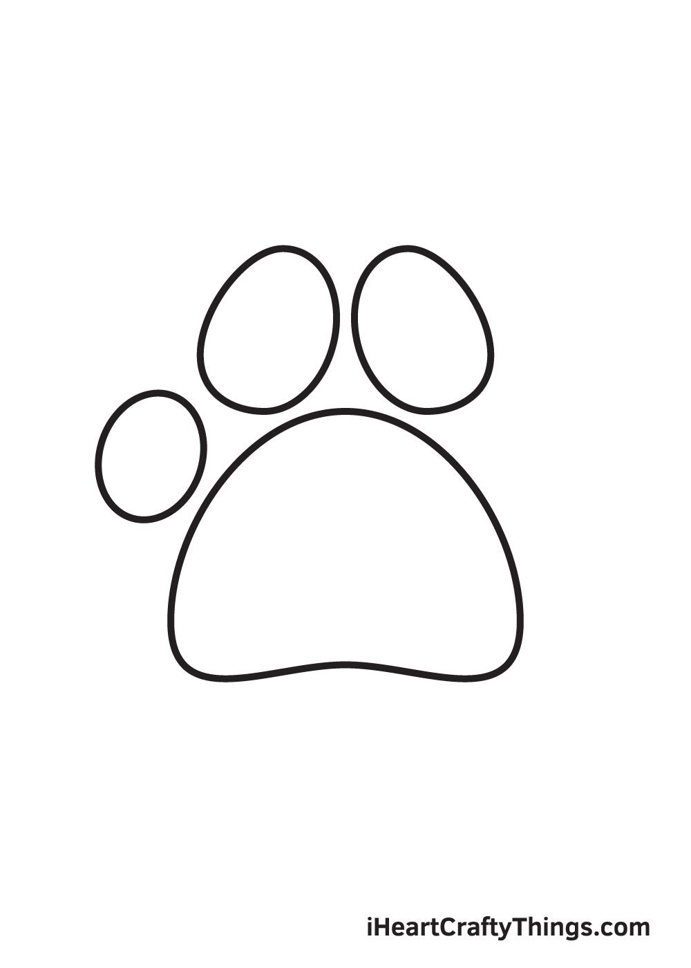 paw print drawing step 4