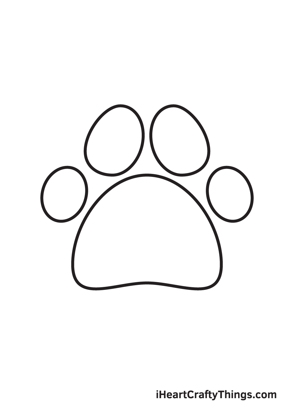 paw print drawing step 5
