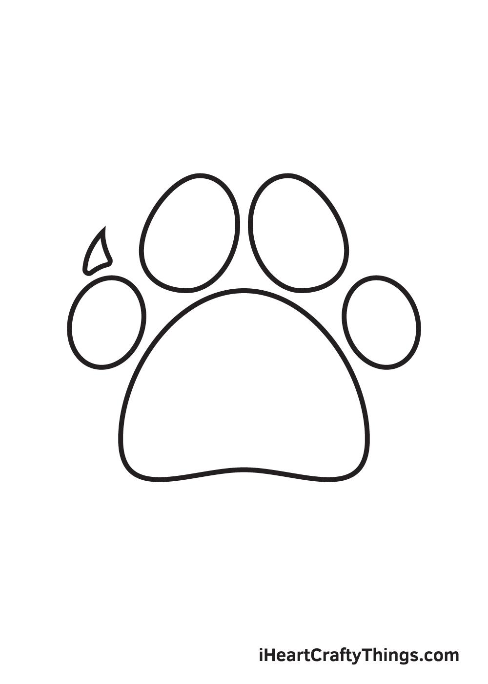 paw print drawing step 6