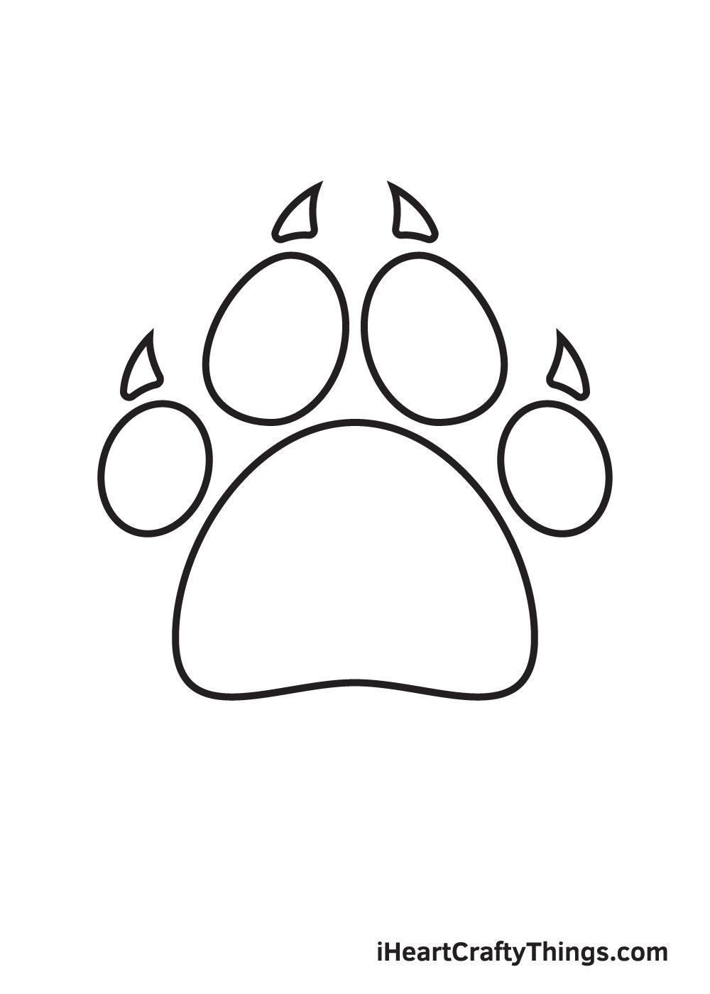 paw print drawing step 9