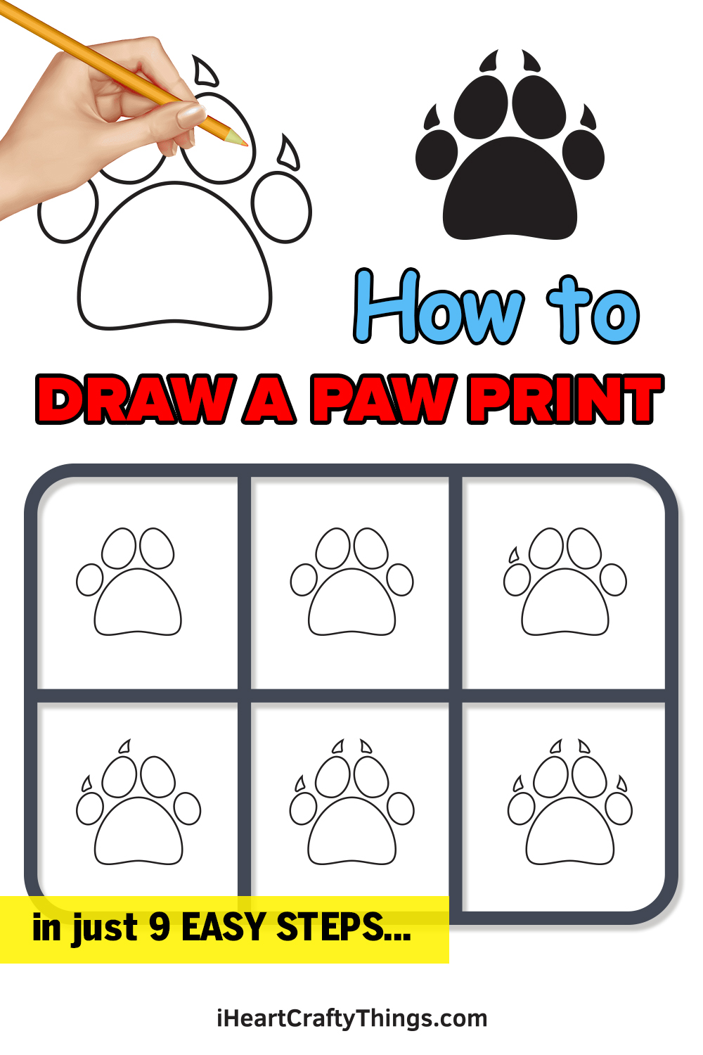how to draw a paw print in 9 easy steps