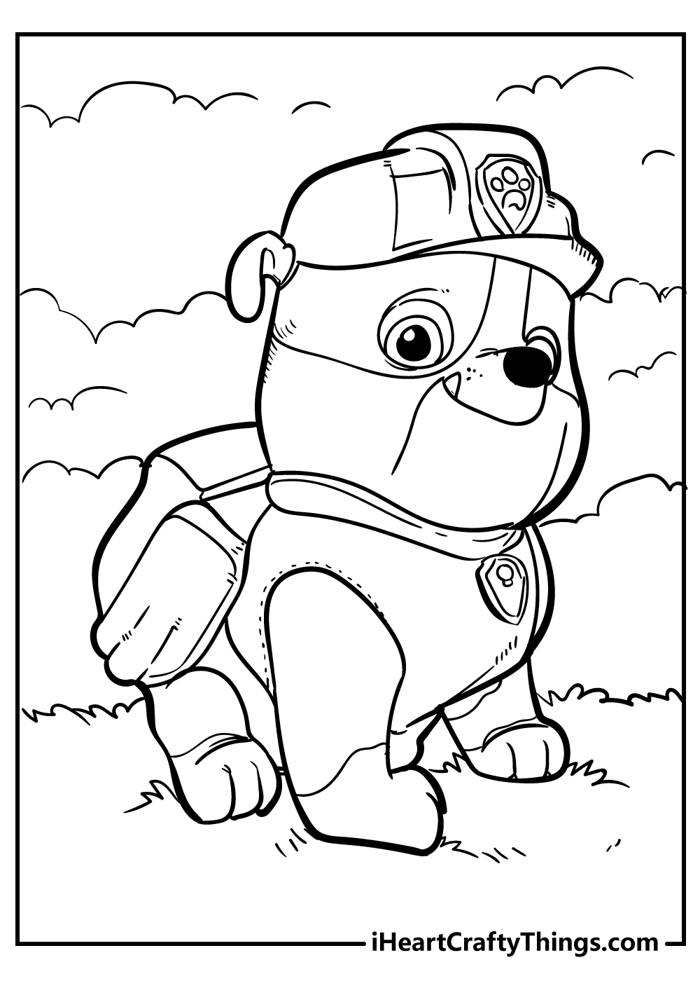 rubble full size paw patrol coloring page