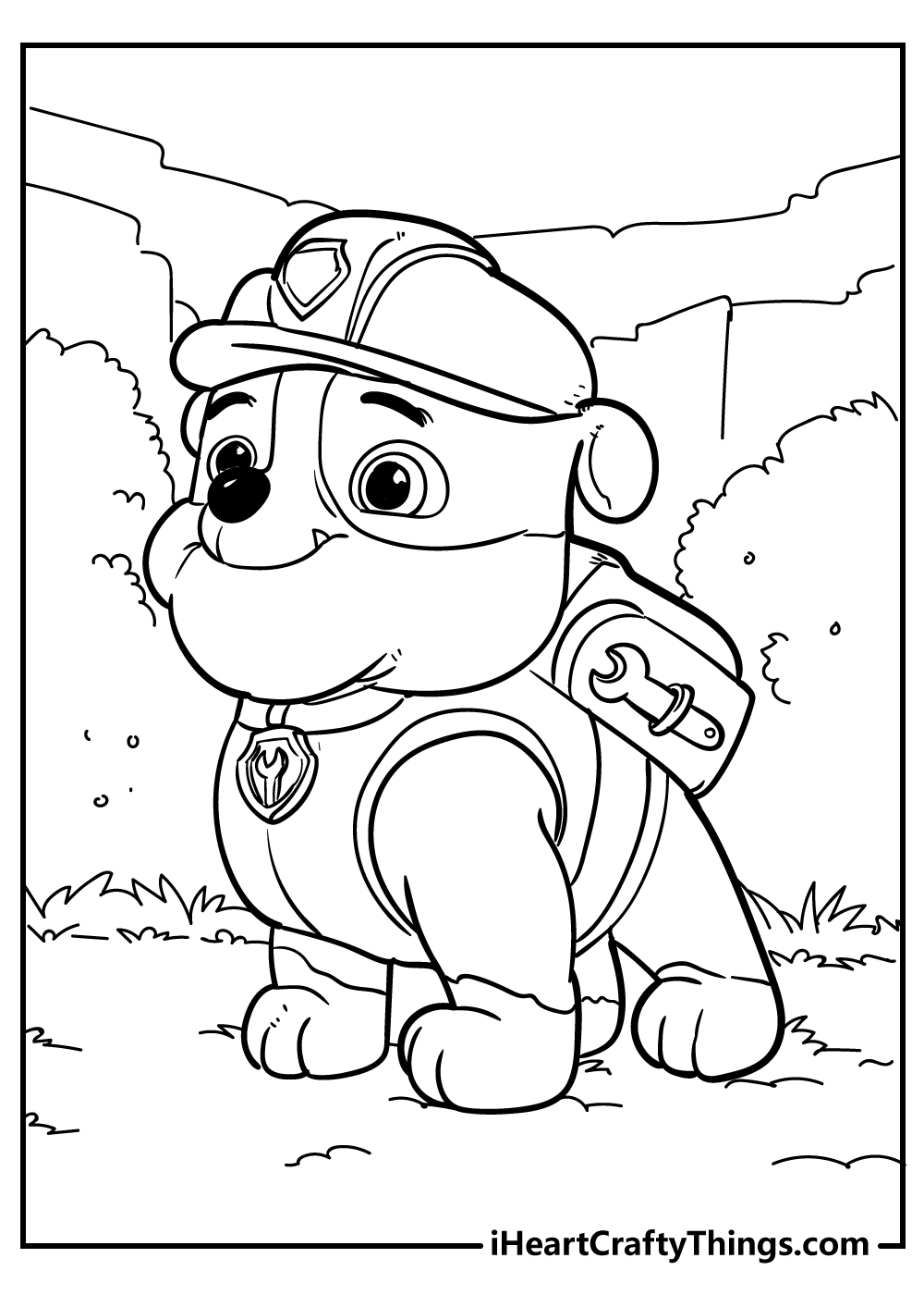 rubble paw patrol coloring page free printable