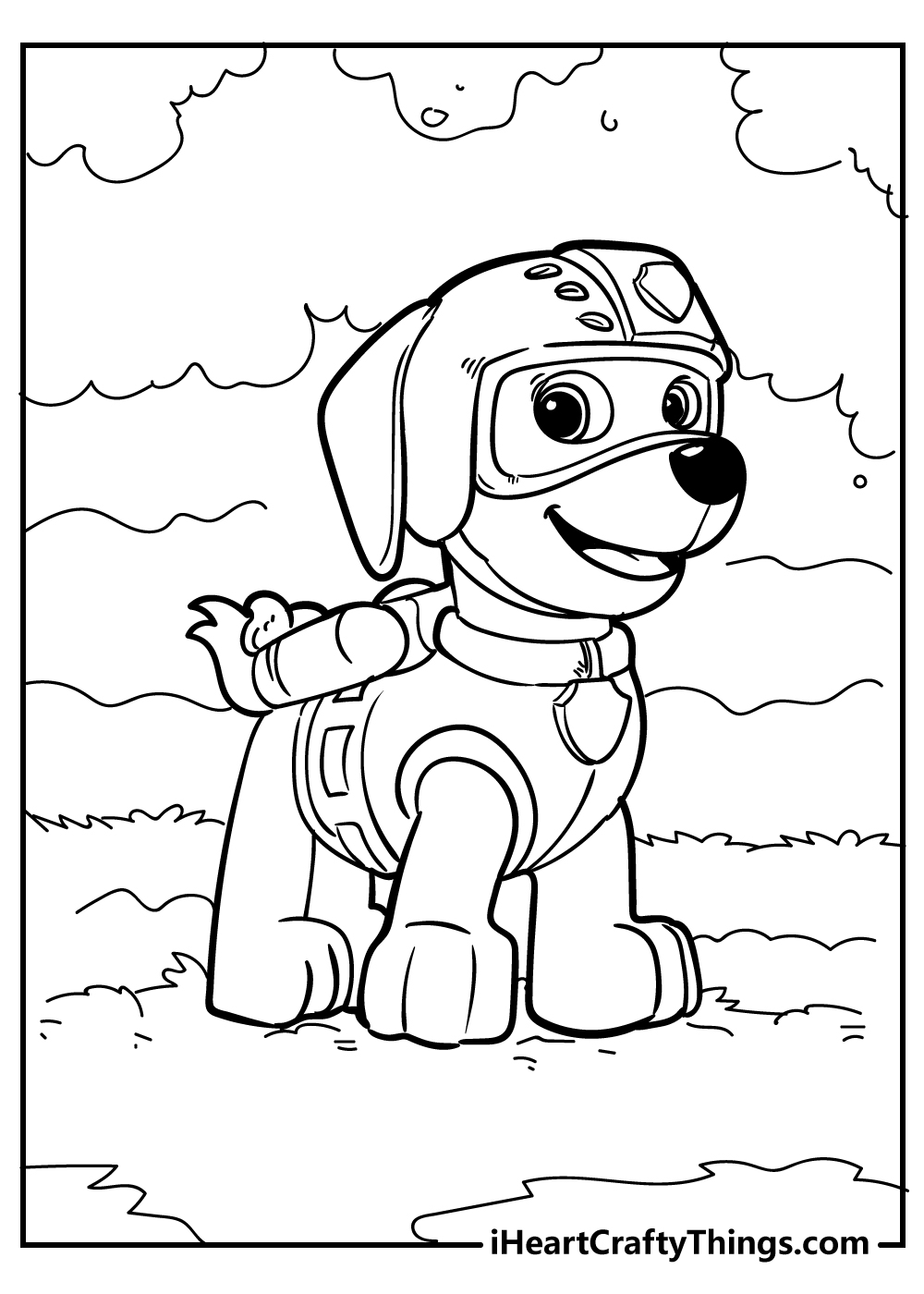 new rocky paw patrol coloring page