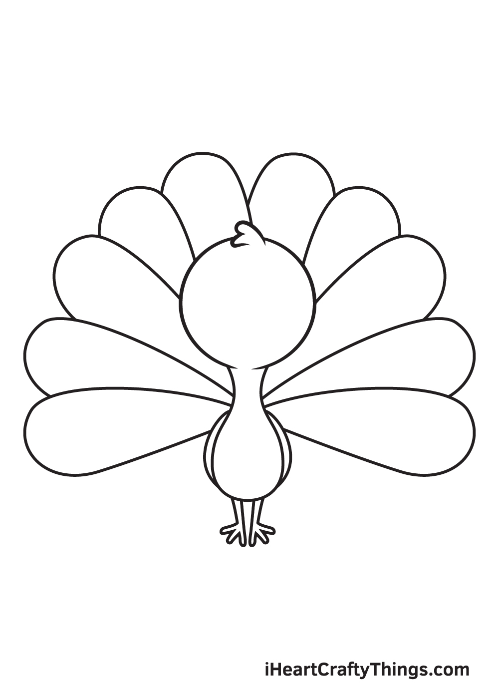 peacock drawing step 6