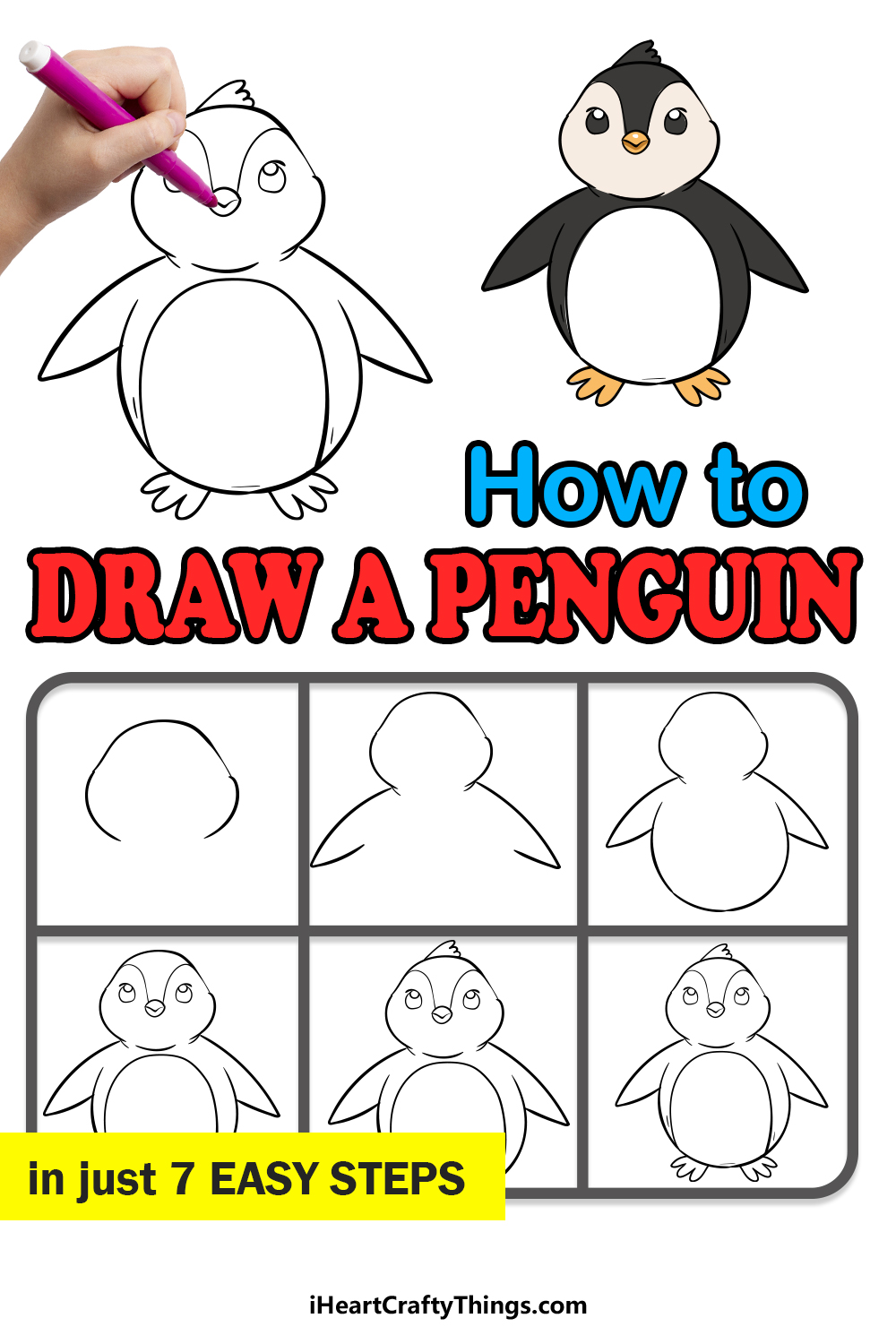 how to draw a penguin in 7 easy step