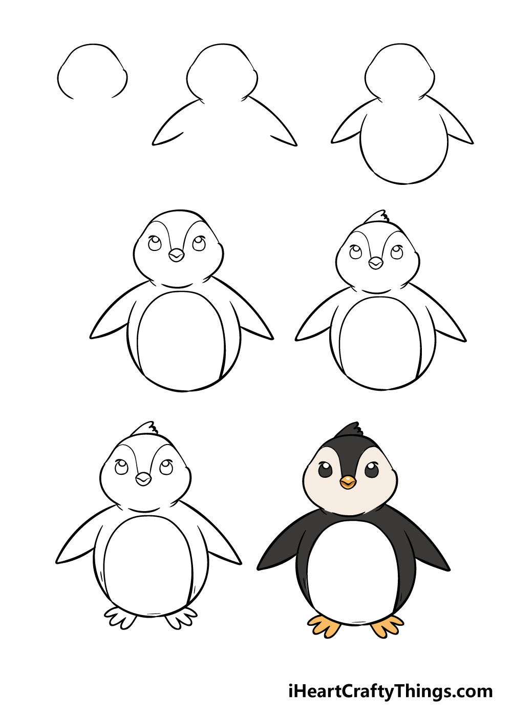 how to draw penguin in 7 steps