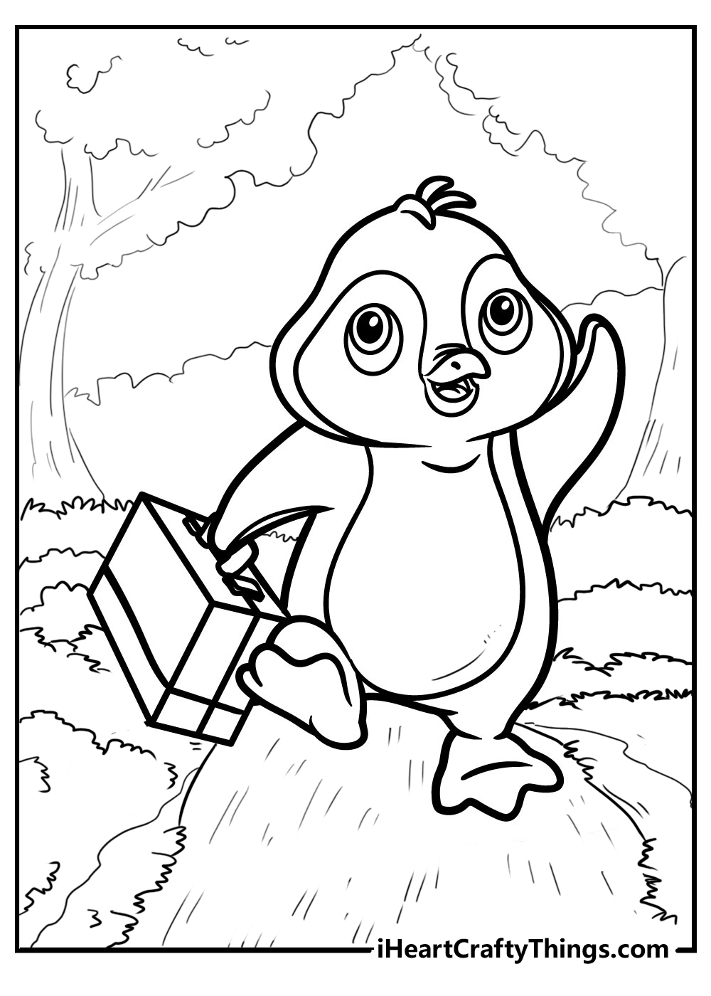 penguin colouring images free pdf