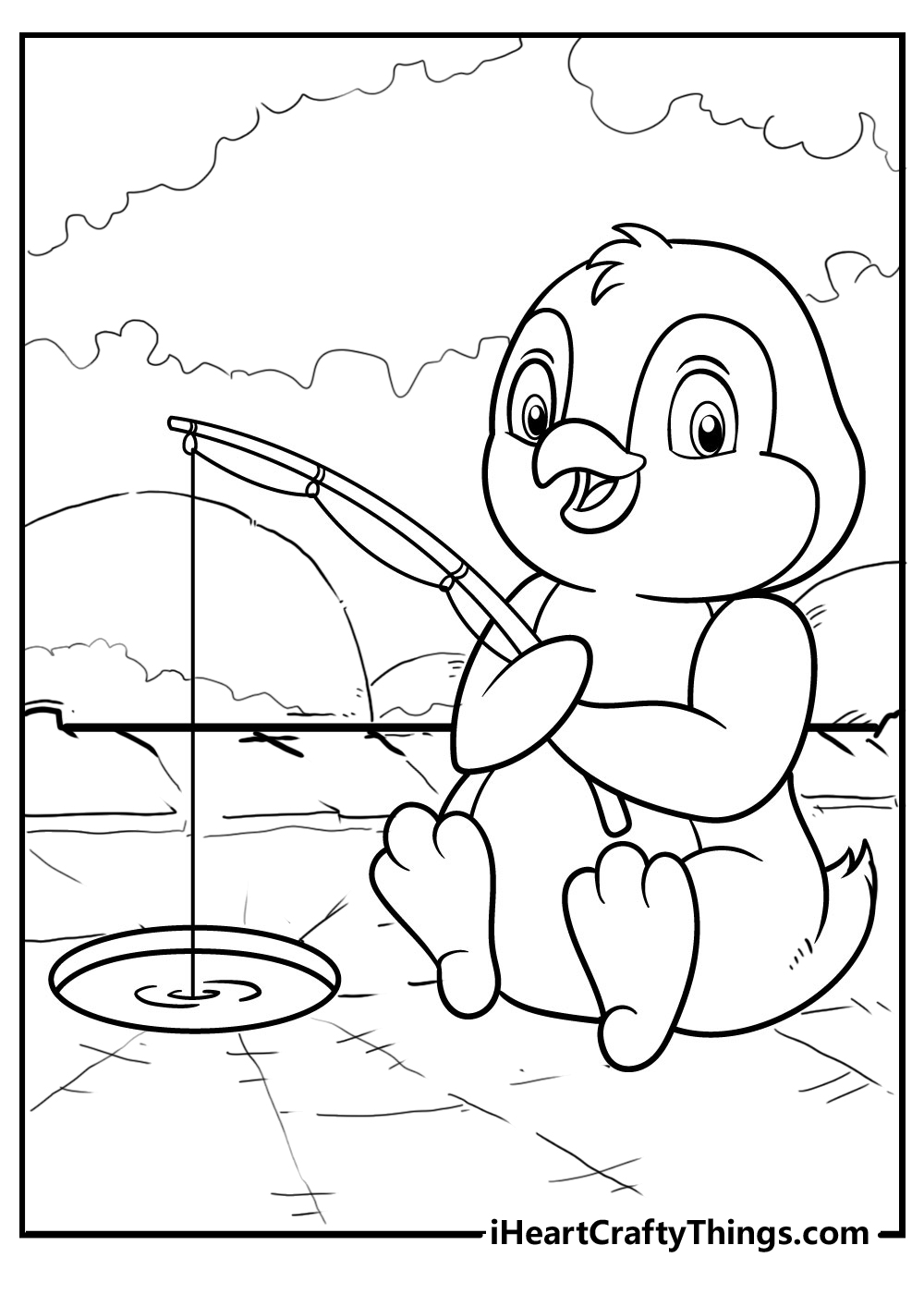 simple penguin coloring pages free