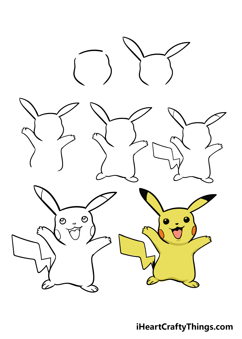 how to draw pikachu in 7 steps