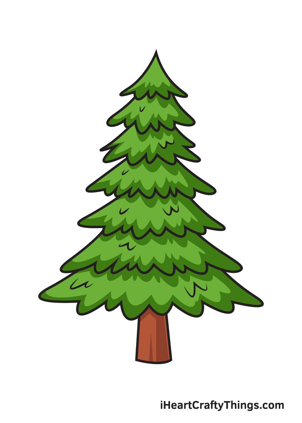 pine tree drawing 9 steps