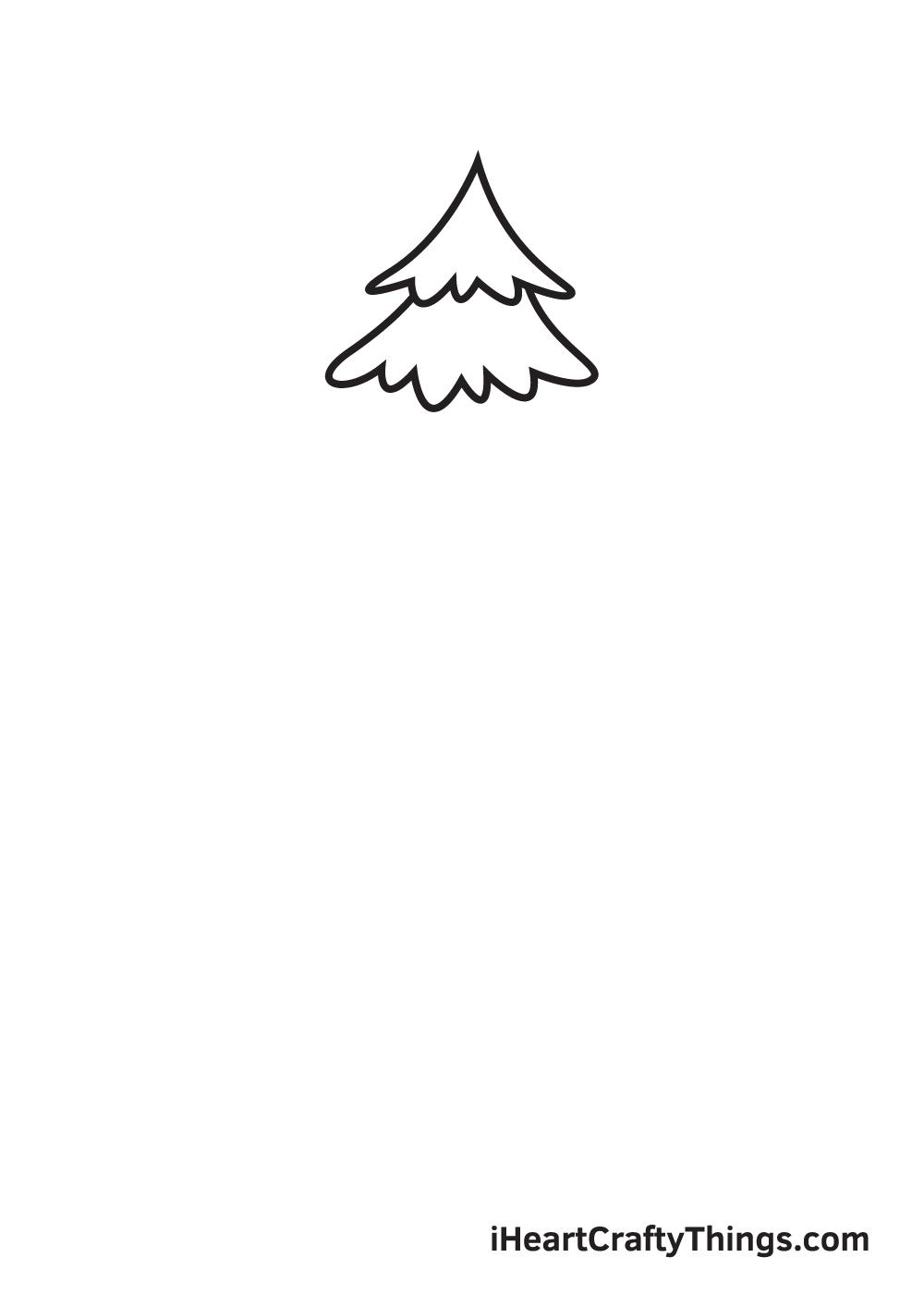 pine tree drawing step 2