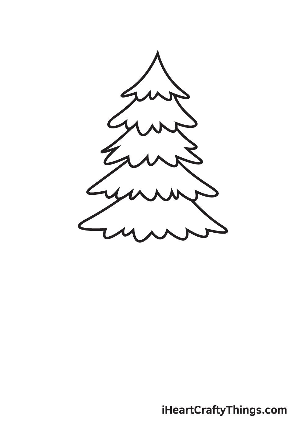 pine tree drawing step 5