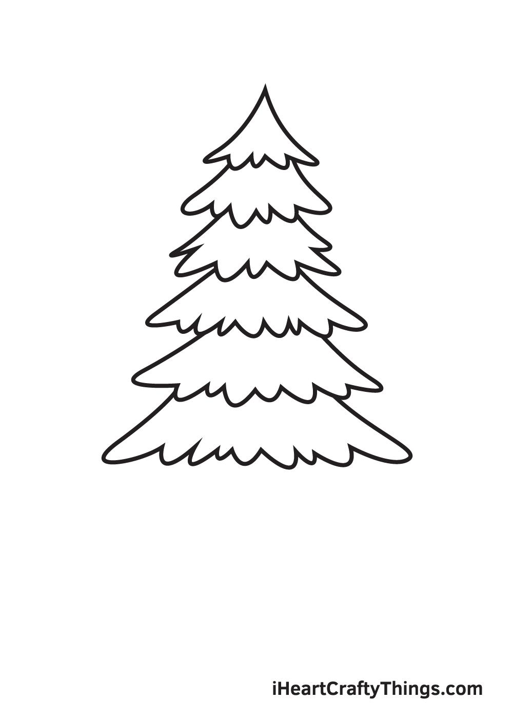 pine tree drawing step 6