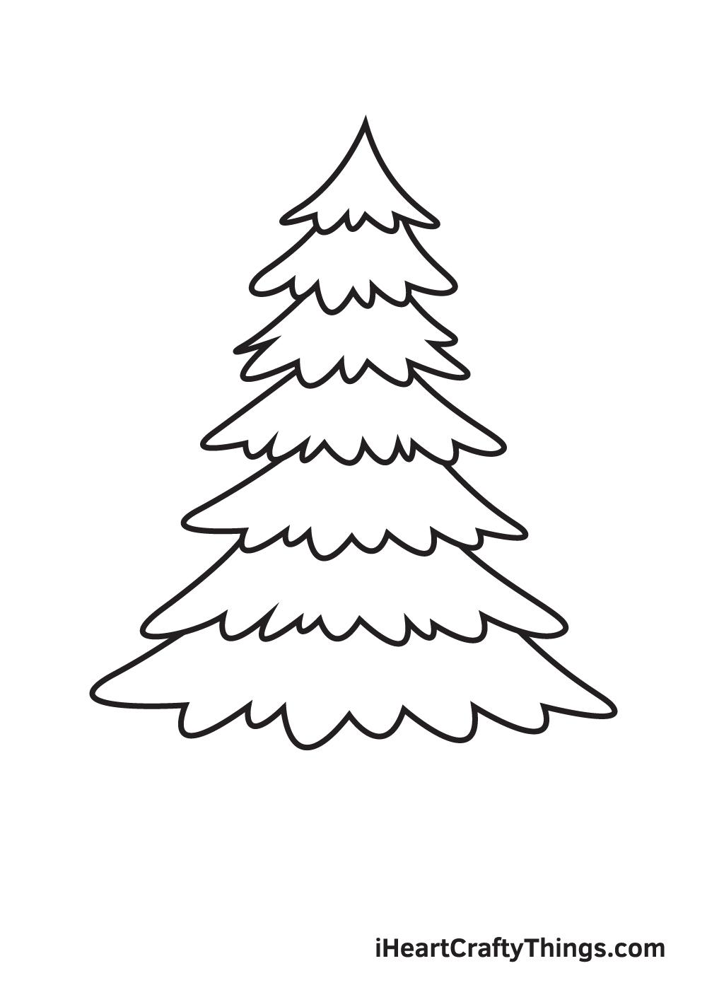 pine tree drawing step 7