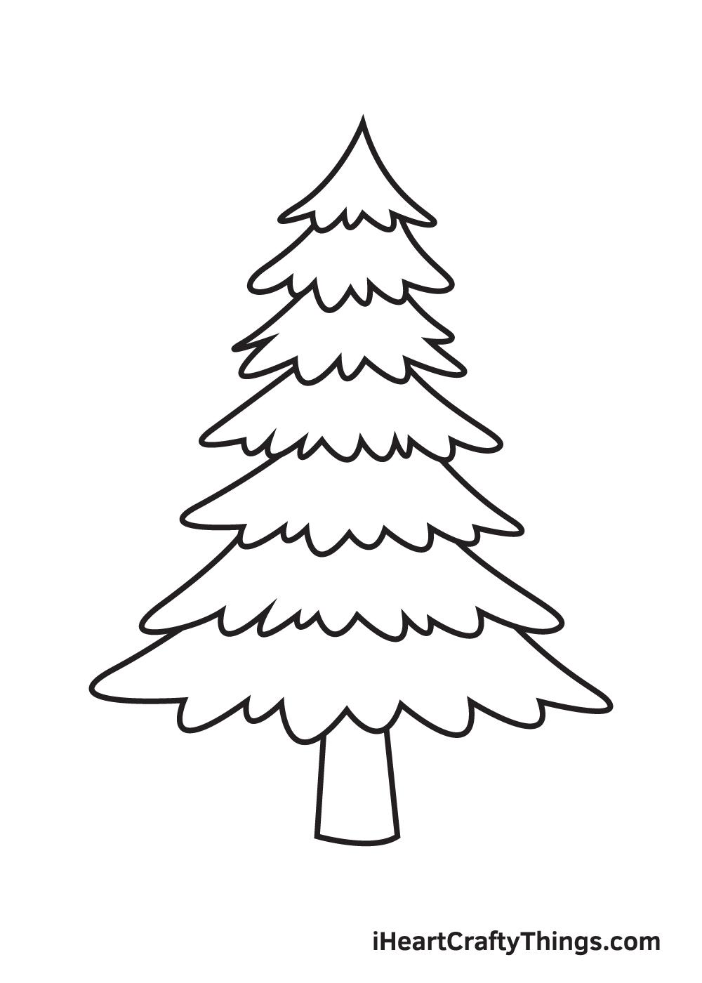 pine tree drawing step 8